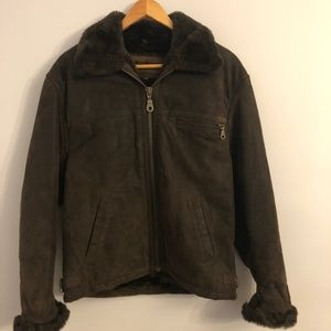 Vintage Guess Sherpa Lined Leather Jacket